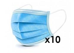 Χειρουργικές Μάσκες Προσώπου 3ply με Λάστιχο και Μεταλλικό Έλασμα 10 Τεμάχια