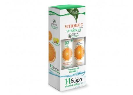 POWER HEALTH Vitamin C 1000 mg & D3 1000iu 24 + 20 αναβράζοντα δισκία